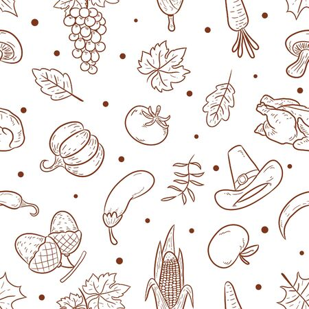 doodle pattern happy thanks giving day