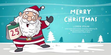 happy christmas with santa clause cartoon vector