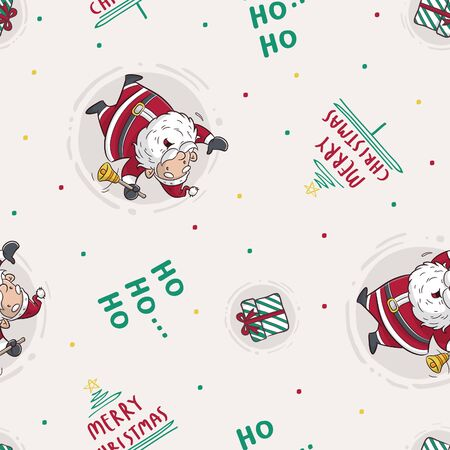 cute seamless pattern with santa clause and christmas ornament