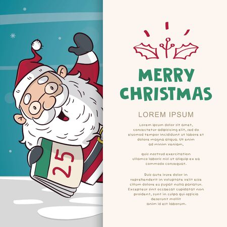greeting card christmas with santa clause cartoon illustration