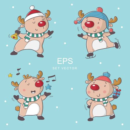 cute cartoon deer in christmas moment celebration, happy holiday