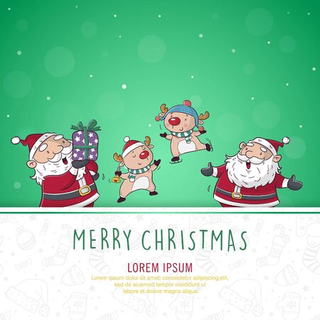 greeting card christmas with santa clause and deer cartoon illustration