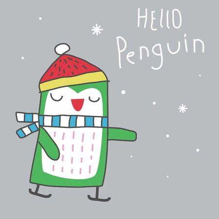 cute penguin playing ice skating cartoon illustration, fall winter season  イラスト・ベクター素材