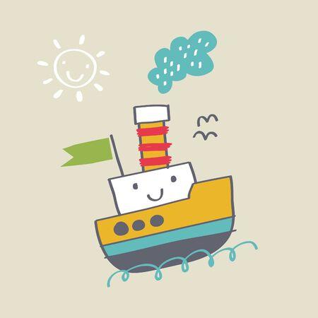 cute ship cartoon vector, kids hand drawing Archivio Fotografico - 138432562