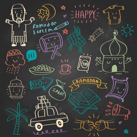 ramadan kareem design element, doodle style , Vector illustration celebration in idul fitri, ramadan kareem means