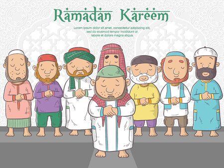 Muslim people praying in mosque, ramadan kareem means happy fasting ramadan, cute cartoon