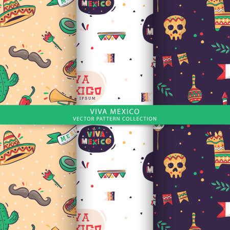 Viva Mexico vector pattern collection