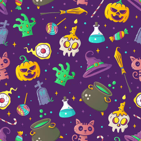 Hand-drawn Halloween pattern vector 矢量图像