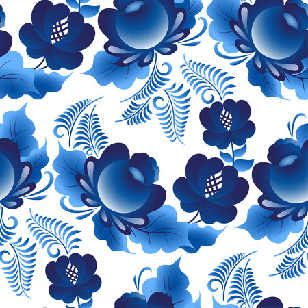 gzhel: Traditional Russian seamless floral pattern in the style gzhel