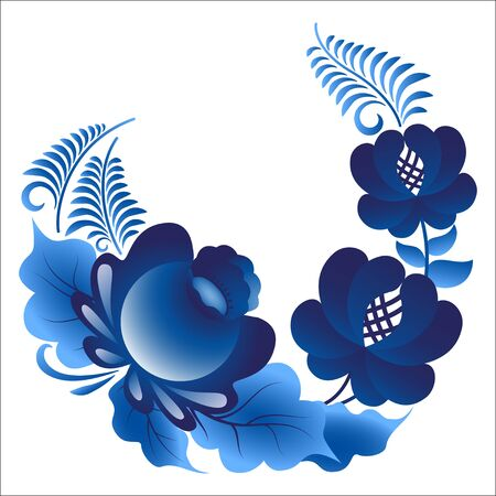 gzhel: Traditional Russian floral pattern in the style gzhel Illustration