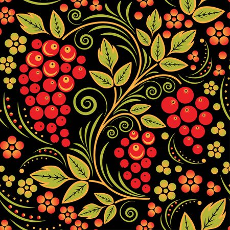 pastiche: Traditional Russian seamless pattern with strawberries in the style khokhloma