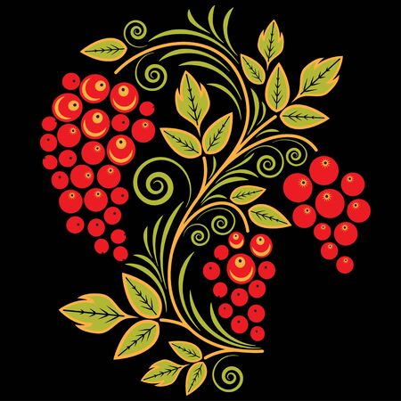 red currant: Traditional Russian pattern with currant in the style khokhloma