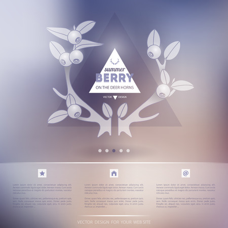sidebar: Website Design for Your Business with Blure Background. Summer berry vector Illustration