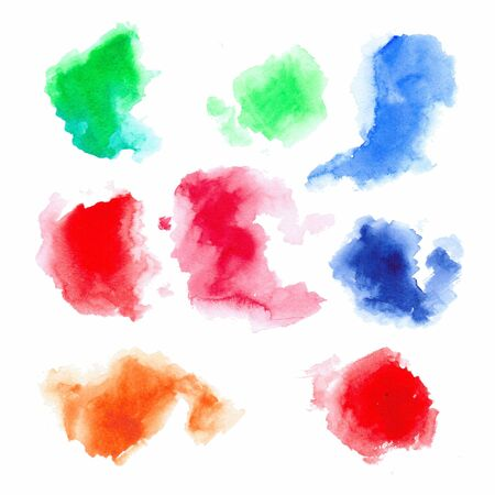 orange color: Set of watercolor colorful drops and spray on a white background. Stock Photo