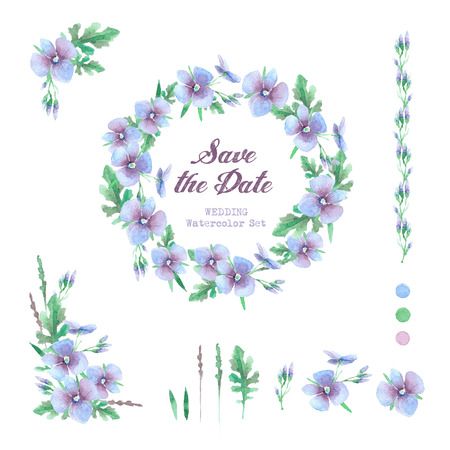 blue circle: Set of templates for celebration, wedding. Blue flowers. Watercolor blue hydrangea, lavender.