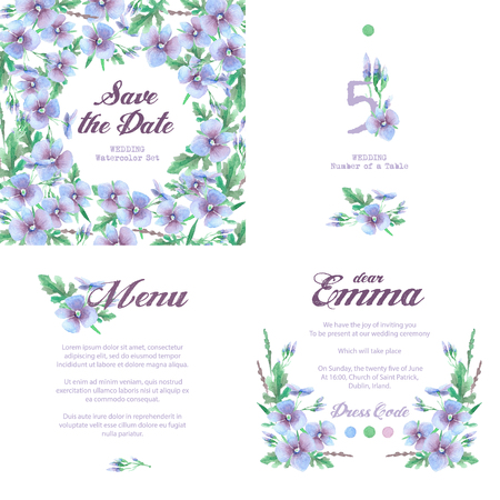 numbering: Set of templates for celebration, wedding. Blue flowers. Watercolor blue hydrangea, lavender. Invitation card, letterhead, numbering for tables and different elements. Vintage design Stock Photo