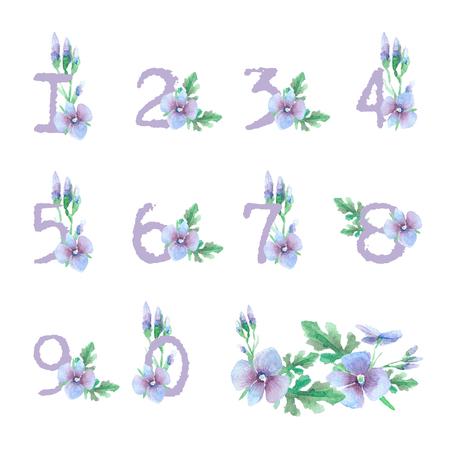 numbering: Set of templates for celebration, wedding. Blue flowers. Watercolor blue numbering for tables. Vintage design