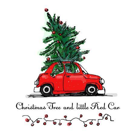 red car and Christmas tree vector card. X-mas cartoon illustration