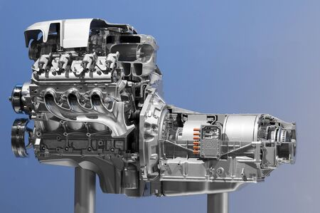 Hybrid car engine photo