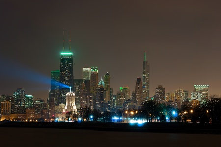 Chicago city skyline at night. Stock Photo