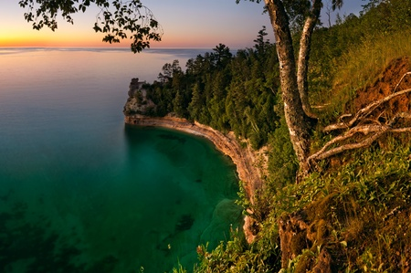 Sunset at Pictured Rock National Lakeshore, Michigan, USA Stock Photo - 9894427