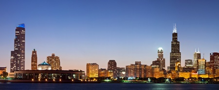Chicago skyline at twilight. Panoramic image of Chicago skyline at twilight.  Stock Photo