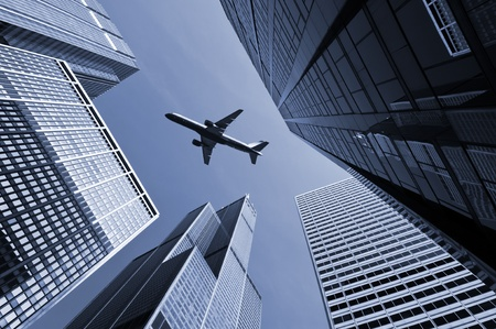 Airplane above city of Chicago. Stock Photo