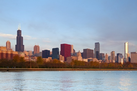 Chicago Skyline. Image of famous Chicago skyline at autumn sunrise.  photo