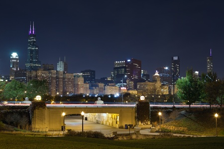 Chicago. Image of Chicago skyline and Grant Park at night. photo