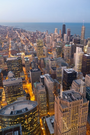 City of Chicago. Aerial view  of Chicago downtown at twilight from high above. photo