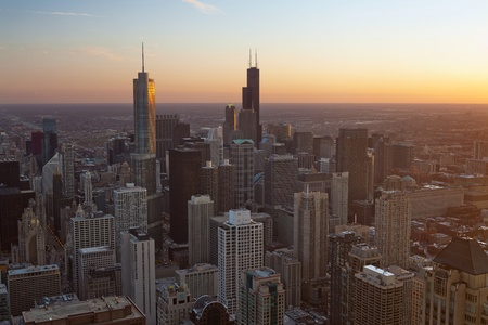 City of Chicago. Aerial view  of Chicago downtown at sunset from high above. photo