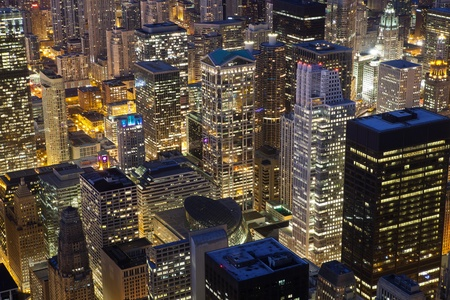 Chicago Architecture. Close up image of Chicago downtown buildings at night. photo