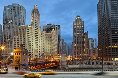 Chicago riverside. Image of Chicago downtown district at twilight.  photo