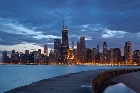 Chicago. Twilight blue hour at city of Chicago. Stock Photo