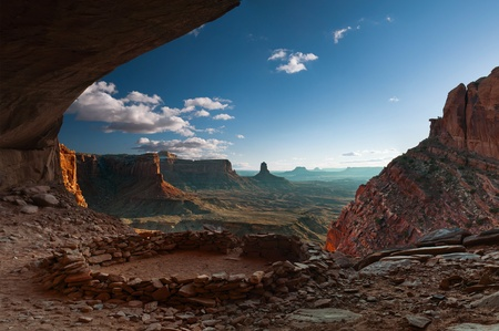 False Kiva, Anasazi Ruins. False Kiva is a human-made stone circle of unknown origin in a cave in a remote area of the Canyonlands National Park, which is located in U.S. state of Utah. Stock Photo - 11385167