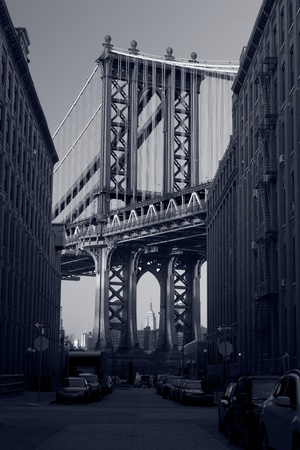 Manhattan Bridge. Close up image of Manhattan Bridge in New York City. photo