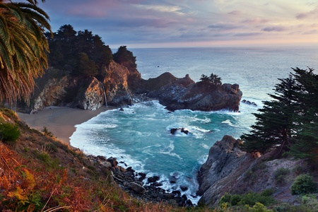 california state: McWay Falls at Julia Pfeiffer Burns State Park Big Sur California Stock Photo