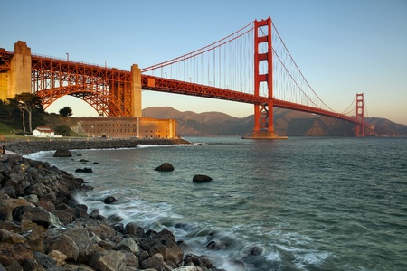 north gate: Golden Gate Bridge in San Francisco California at the morning. Stock Photo