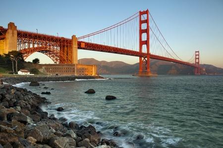 Golden Gate Bridge in San Francisco California at the morning. photo