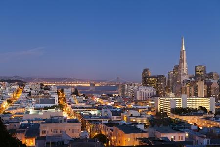 transamerica: San Francisco. Image of San Francisco skyline with Bay Bridge at twilight. Stock Photo