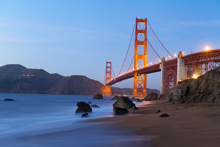 north gate: Golden Gate Bridge in San Francisco California after sunset.