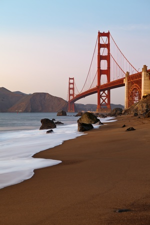 north gate: Golden Gate Bridge in San Francisco California at sunset. Stock Photo