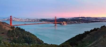 San Francisco Bay. Image of Golden Gate Bridge with San Francisco skyline in the background.  Stock Photo