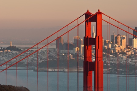 Golden Gate Bridge. Image of Golden Gate Bridge with San Francisco skyline in the background. Stock Photo
