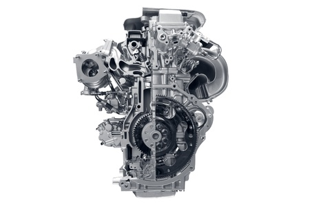 car show: Car engine. Concept of modern car engine isolated on white background.