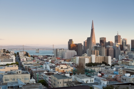 transamerica: San Francisco. Image of San Francisco skyline at sunset. Stock Photo