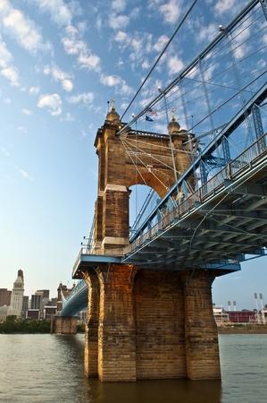 Historic suspension bridge. Close up image of historic John A. Roebling suspension bridge in Cincinnati, Ohio, USA. photo