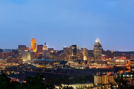 Cincinnati. Image of Cincinnati skyline at twilight. photo