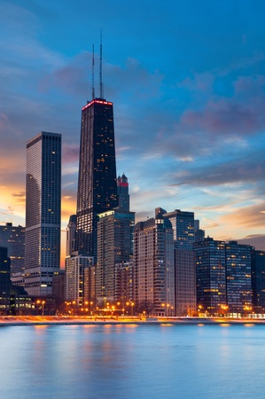 waterfront property: Chicago skyline. Twilight blue hour at Chicago downtown.