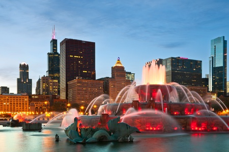 midwest usa: Chicago. Image of Buckingham Fountain in Grant Park, Chicago, Illinois, USA. Stock Photo